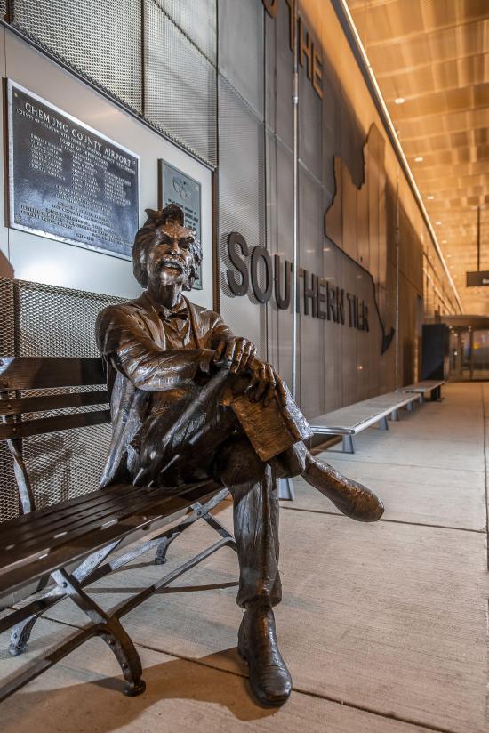 Mark Twain Statue, Elmira Corning Regional Airport