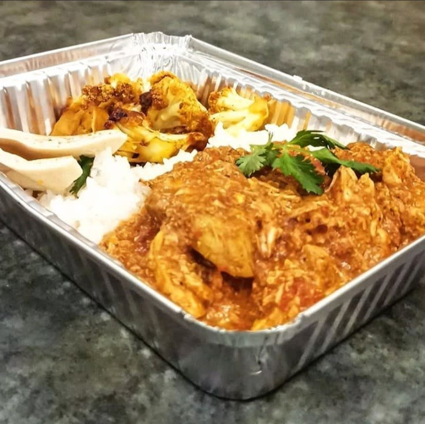 A tray of food from Living Sky Cafe in Saskatoon, SK