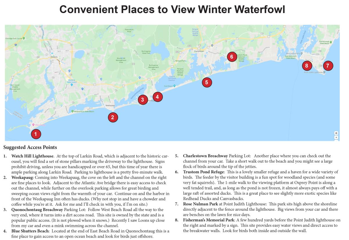 Map of where to view winter water fowl in South County.
