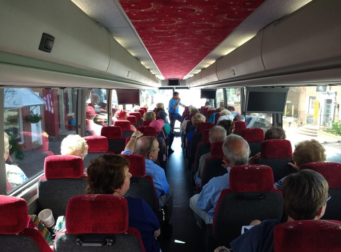Earnie giving tour on bus