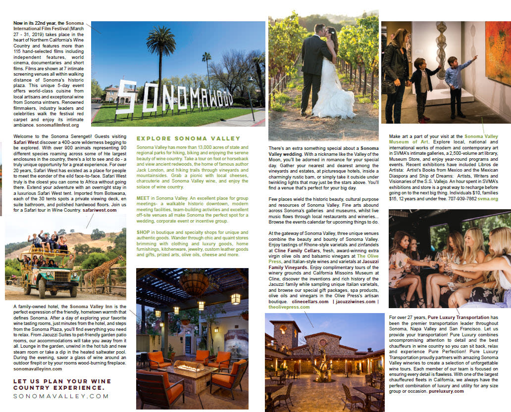 Page two of the SF Travel Visitor Guide Coop with ads from smart Sonoma Valley member businesses