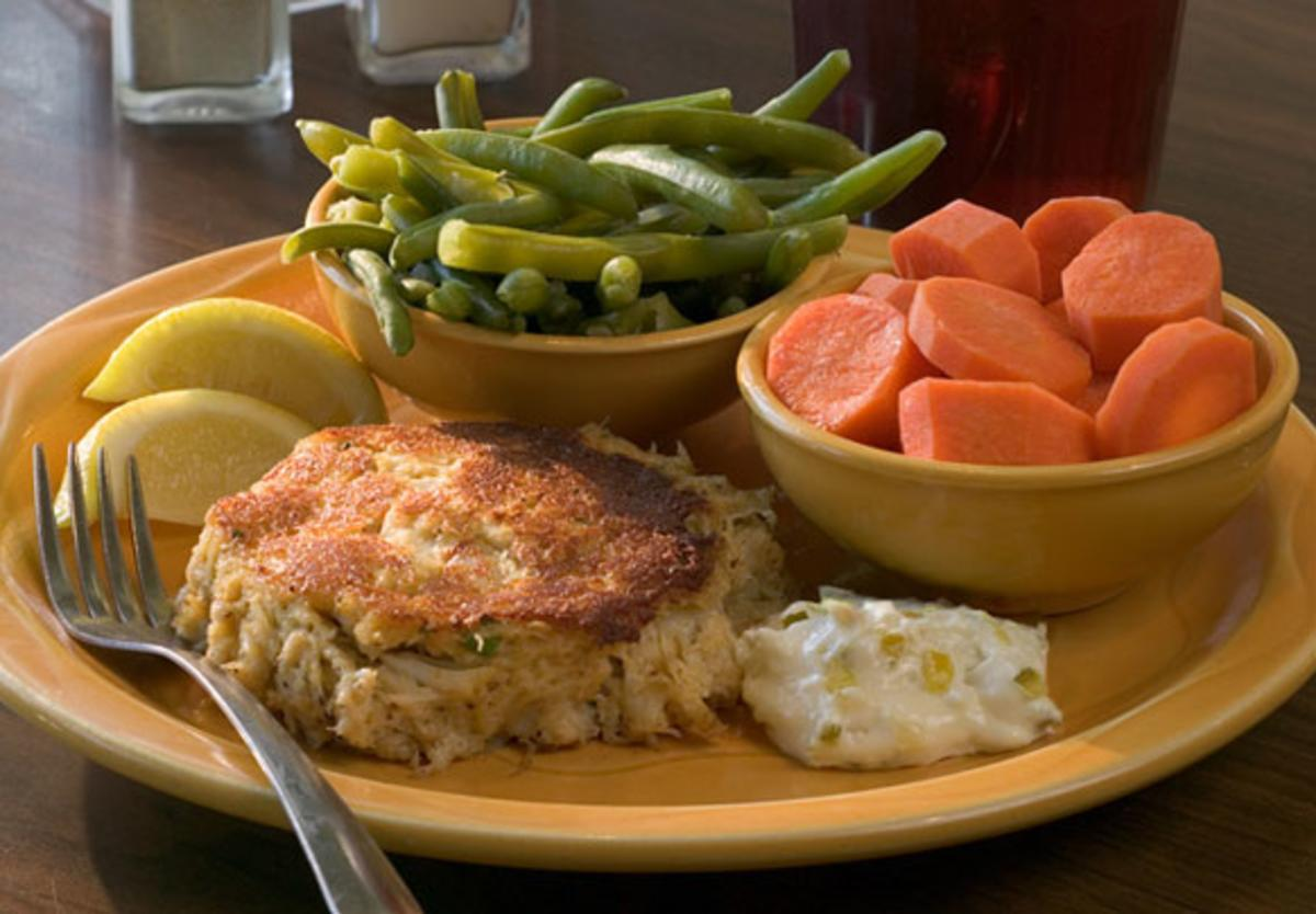 Fresh crab cakes are a menu favorite at Barbara Jean's on St. Simons Island, GA