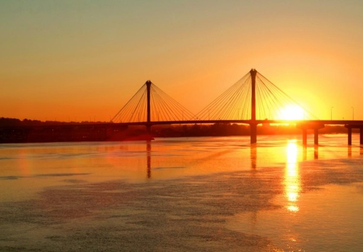 Clark Bridge at sunset