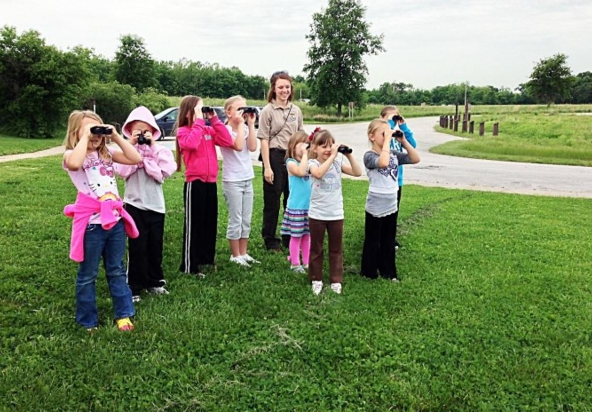 Girl Scouts bird watch at Two Rivers National Wildlife Refuge