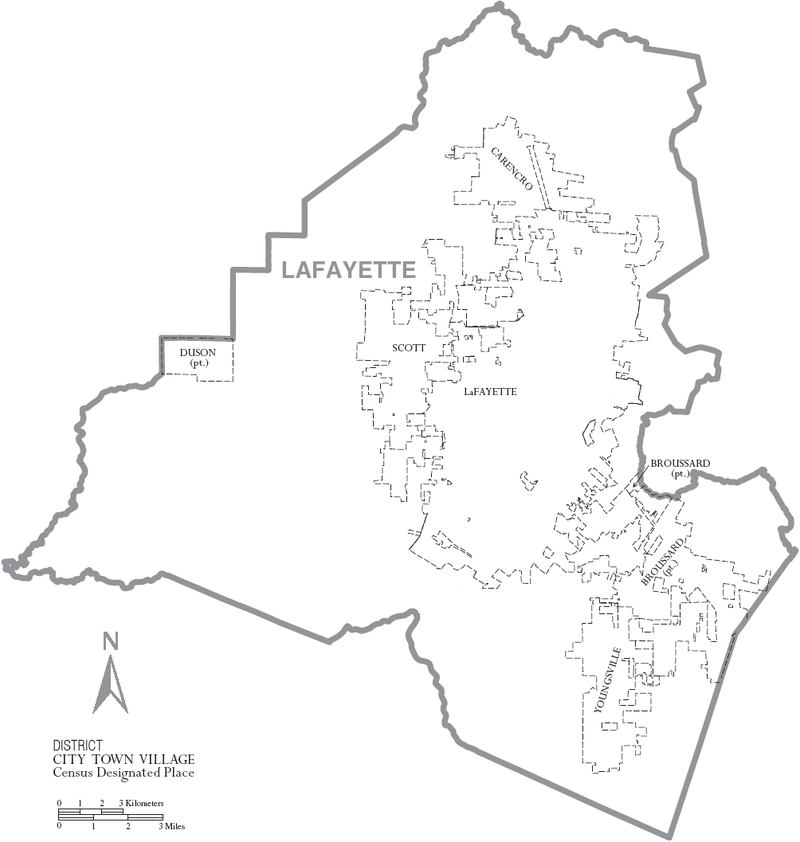 Map of Lafayette Parish, Louisiana With Municipal Labels