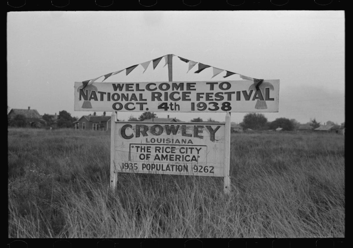 Old Spanish Trail - Rice Festival Sign 1938