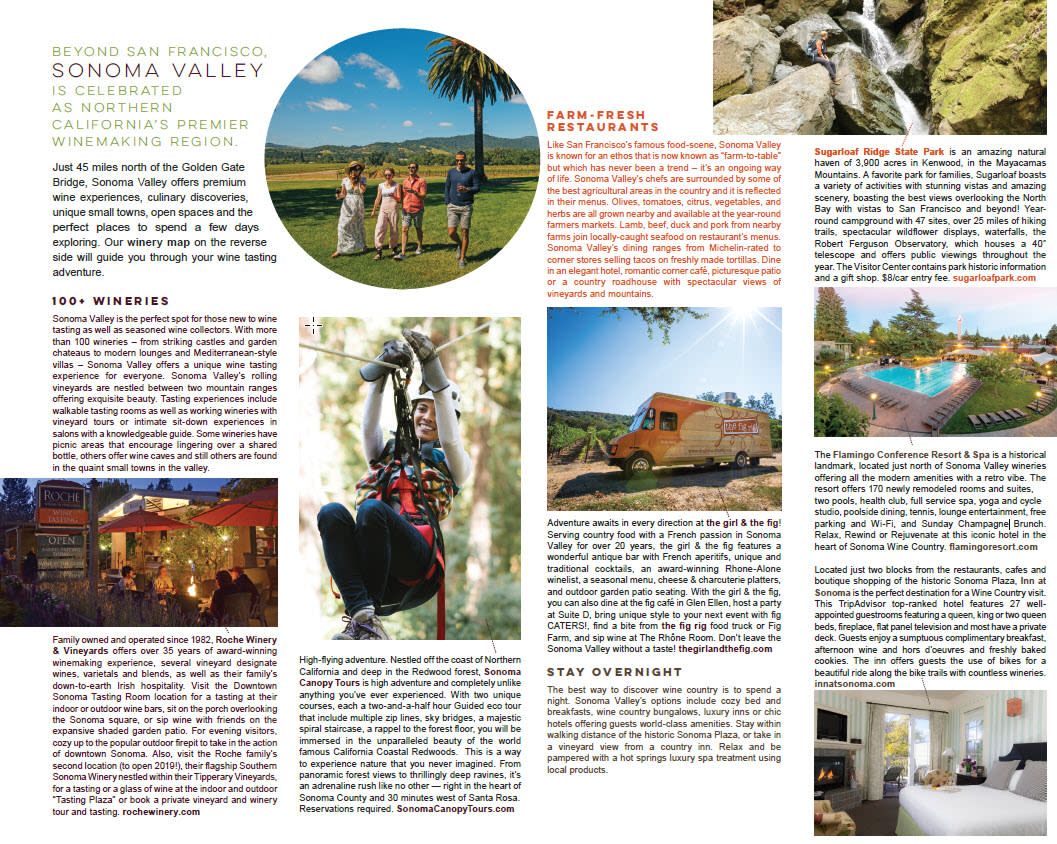 Coop ads from Sonoma Valley Visitors Bureau in the SF Travel Guide Fold-out Section