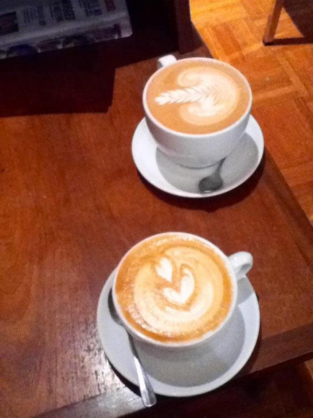 Lattes at Broadacre Coffee in Sacramento