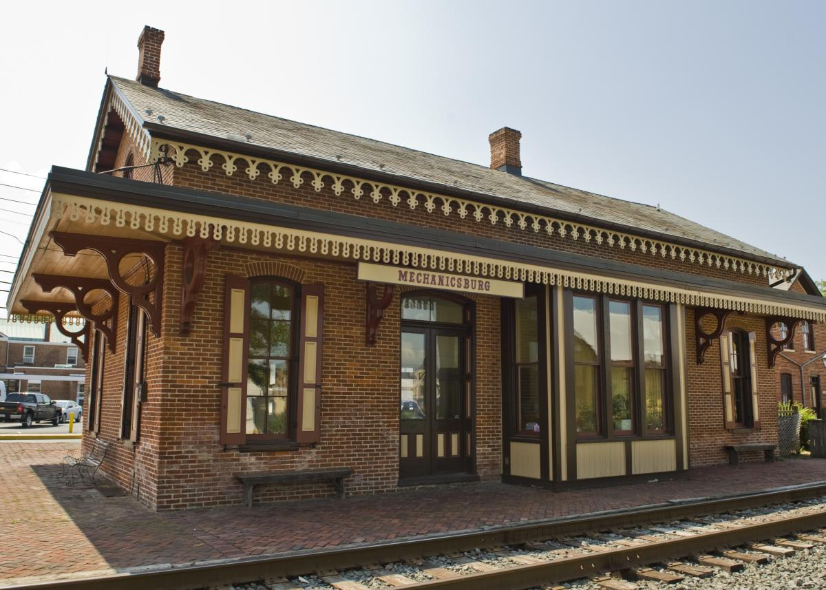 Once a train station, this brick building is now home to the Mechanicsburg Museum.