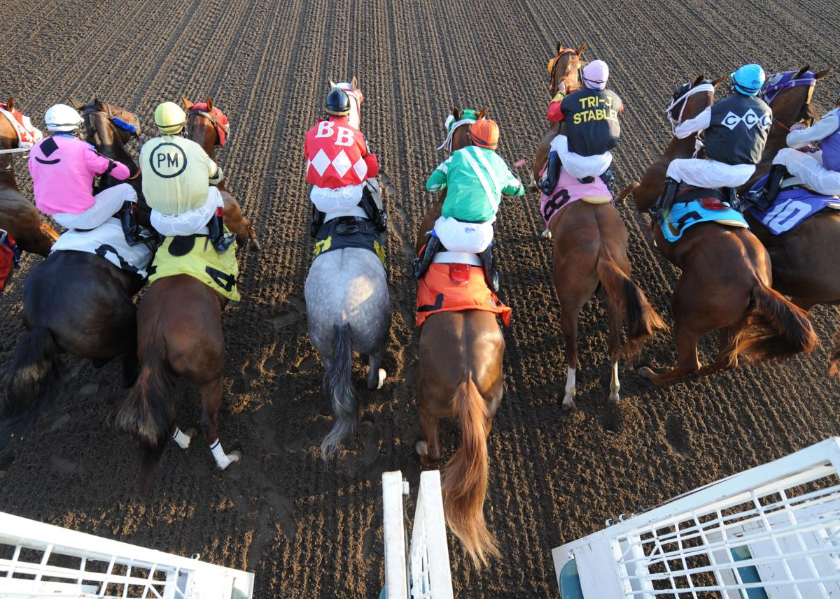 Jockeys On Horses At Prairie Meadows Casino & Racetrack