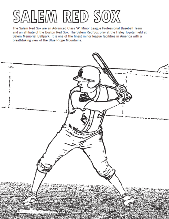 Salem Red Sox Baseball - Coloring Sheet