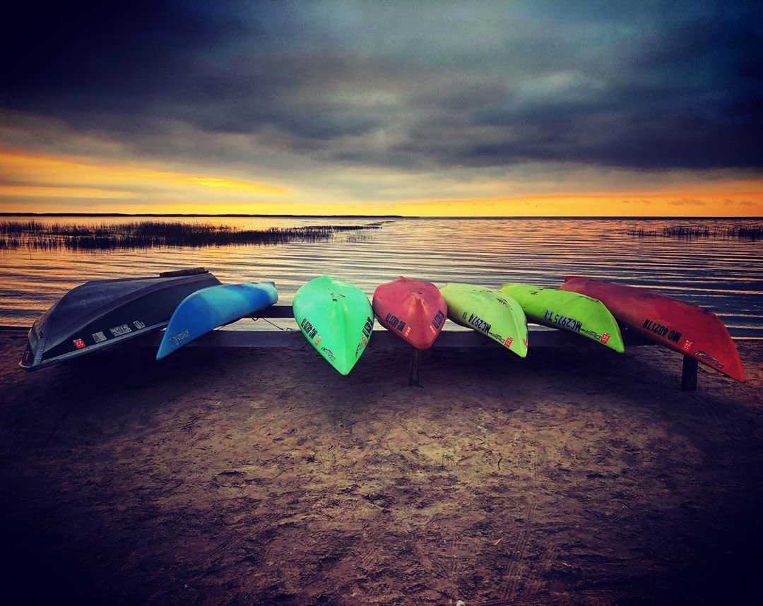 Kayaks on the beach at Bay County Pinconning Park