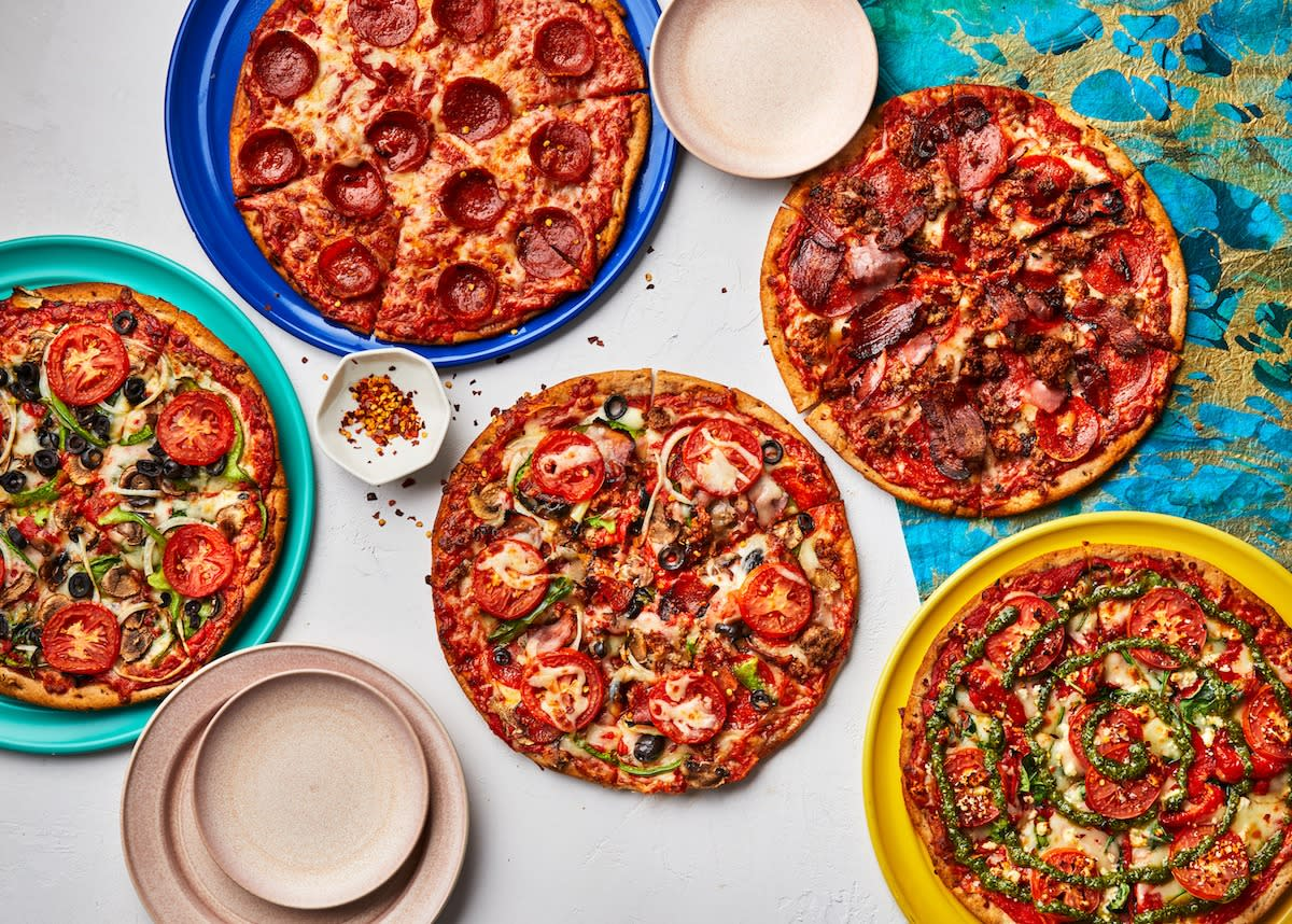 Specialty pizzas from Mellow Mushroom on St. Simons Island, GA