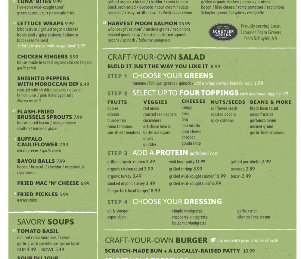Sage Kitchen Menu, page 1
