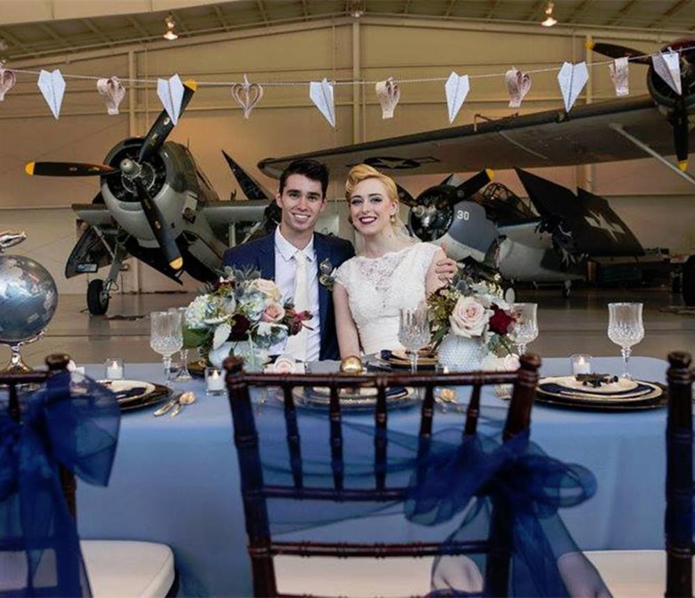 Wedding Couple Navy Hangar