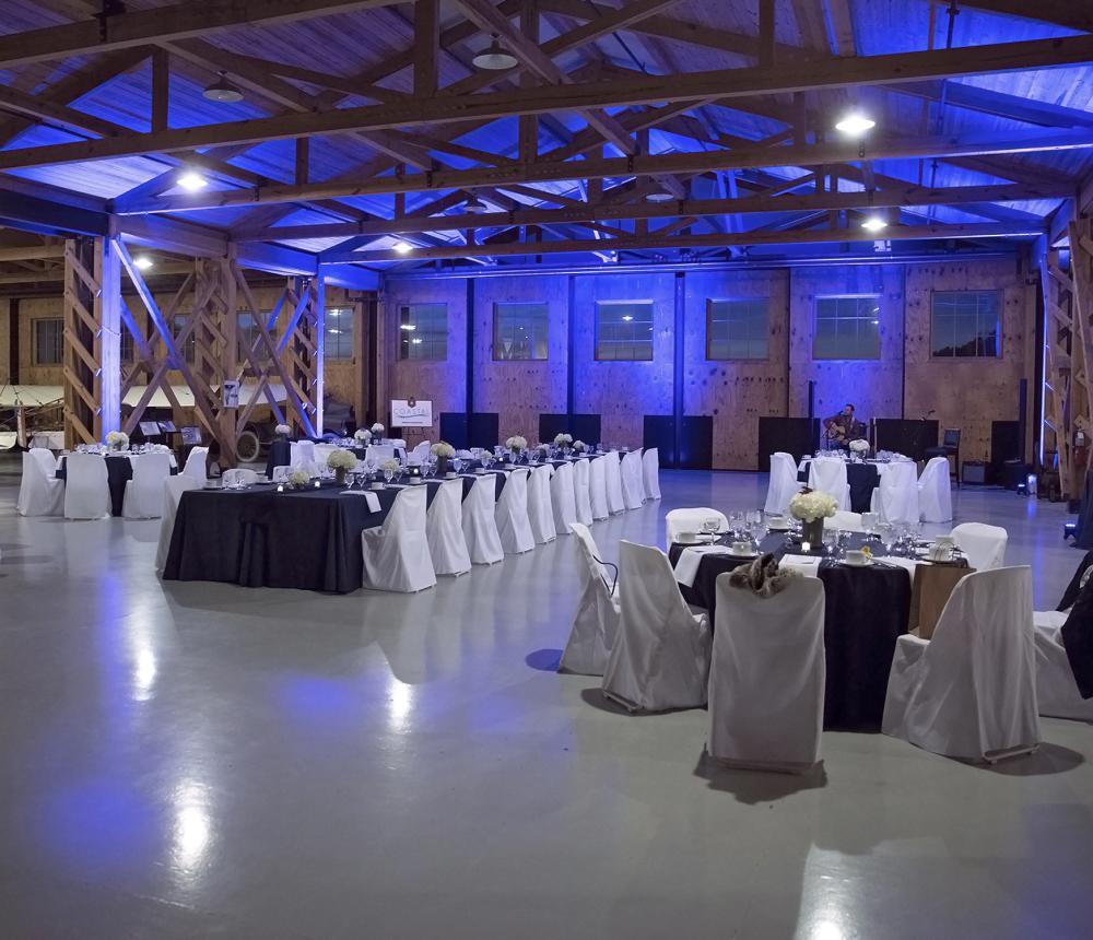 WWII Hangar Wedding Reception Blue Light