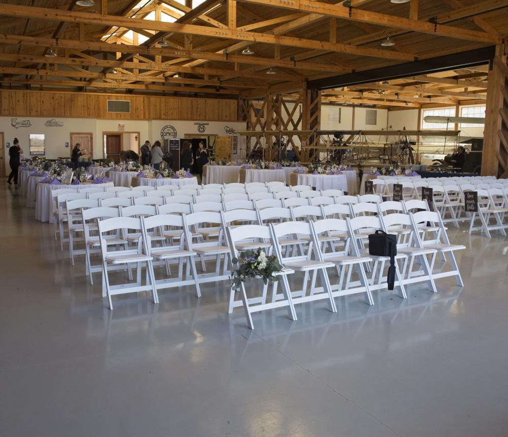 WWI Hangar Wedding Ceremony Chairs 1