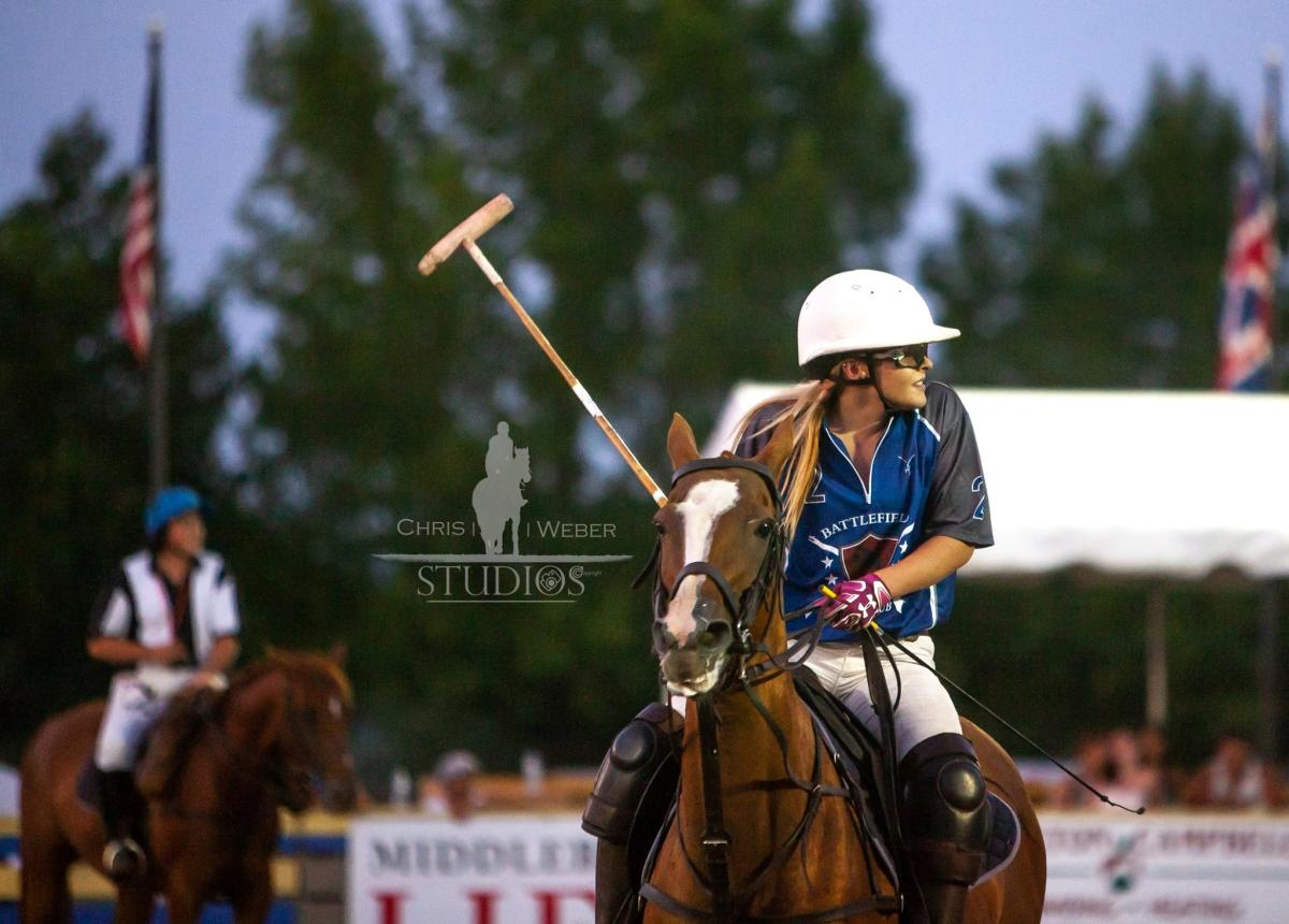 woman playing polo at Battlefield Park Polo Club