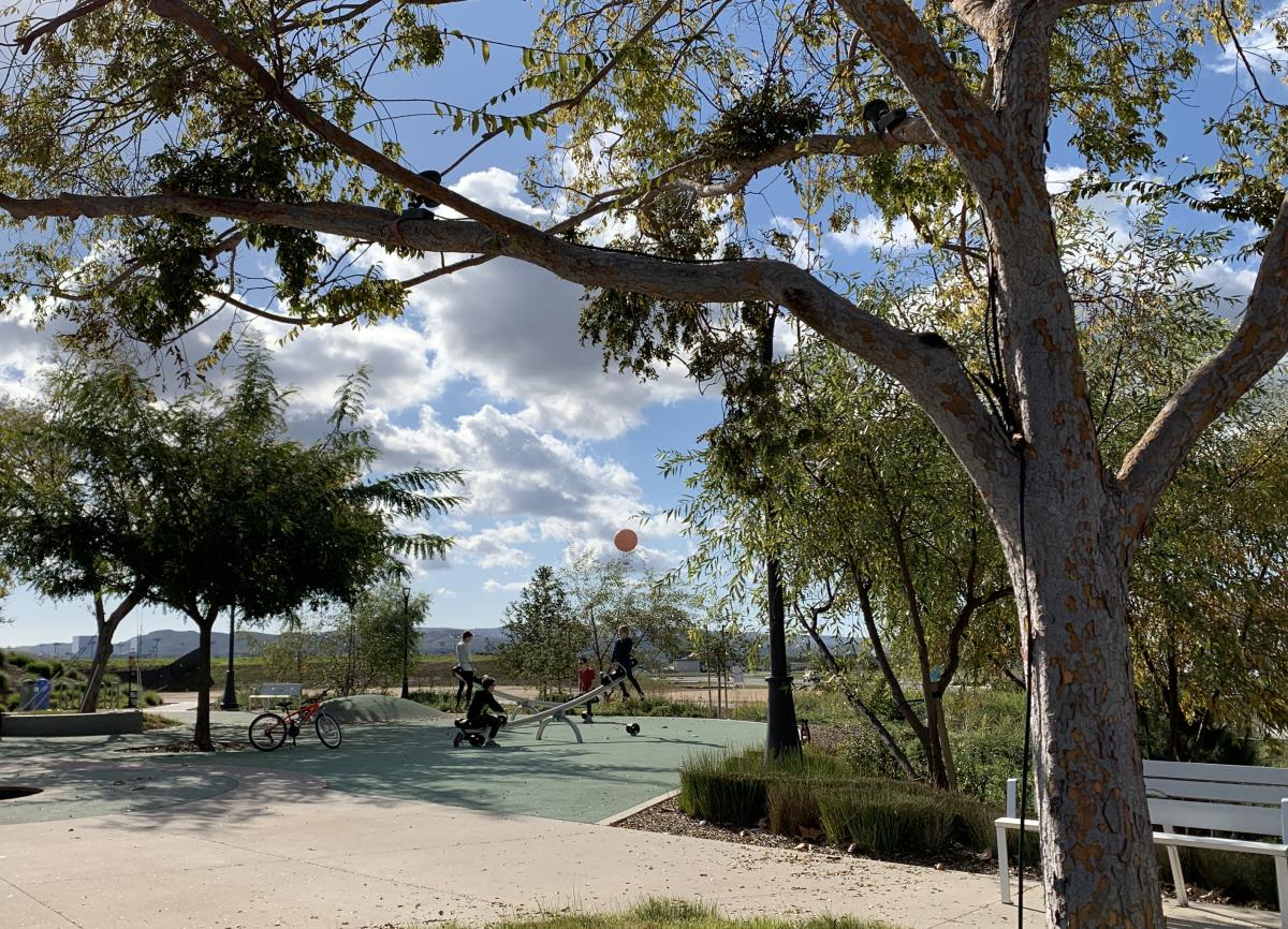 Playground at the Bosque Trail with Orange Balloon at the Great Park Orange County