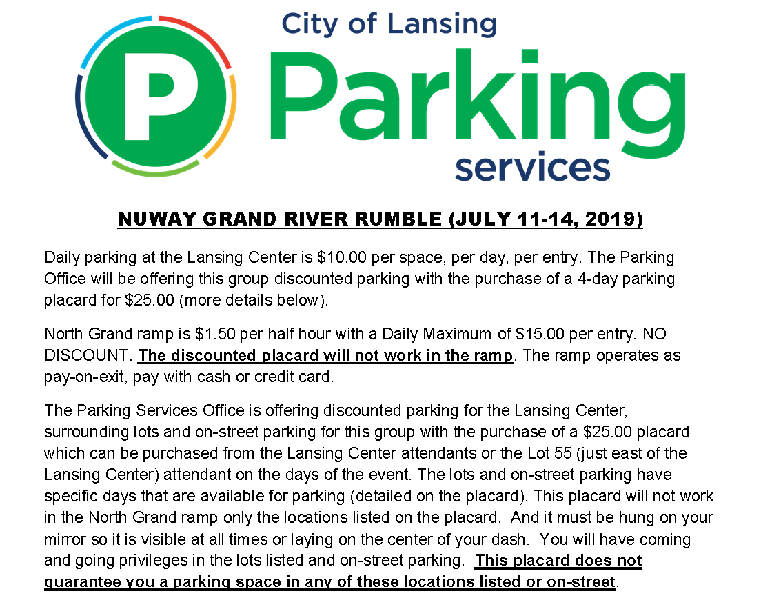 Grand River Rumble parking 2019