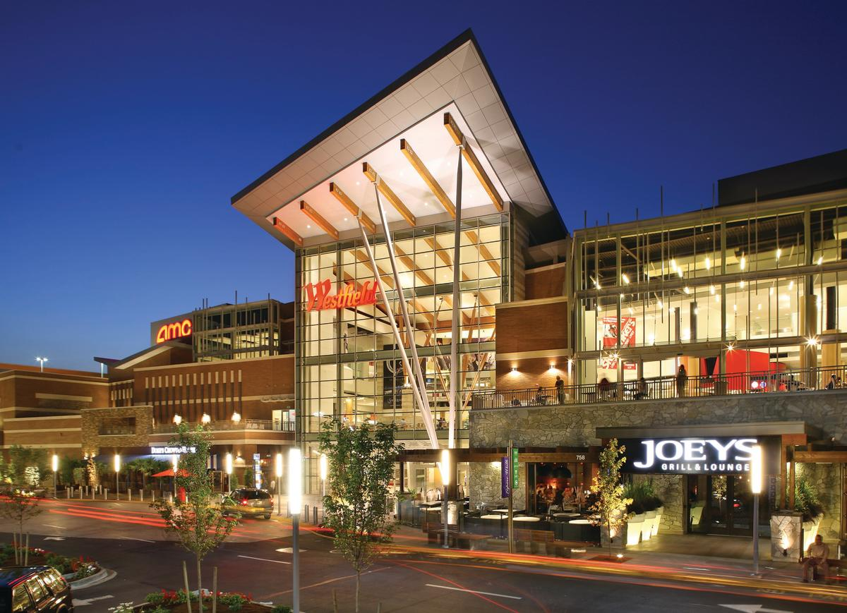 Westfield Southcenter shopping mall exterior at night