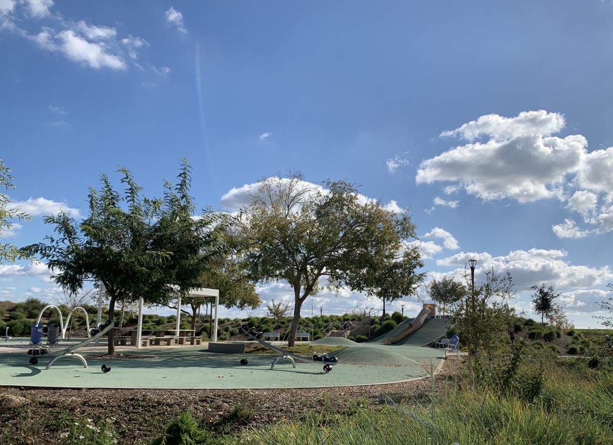 Childrens Play Area at Bosque Trail Great Park Irvine with Slides and swings
