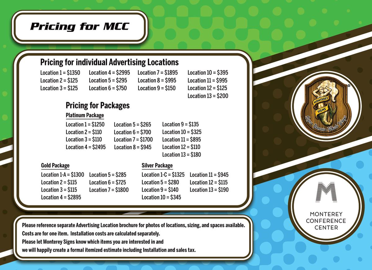 Monterey Signs Pricing Sheet