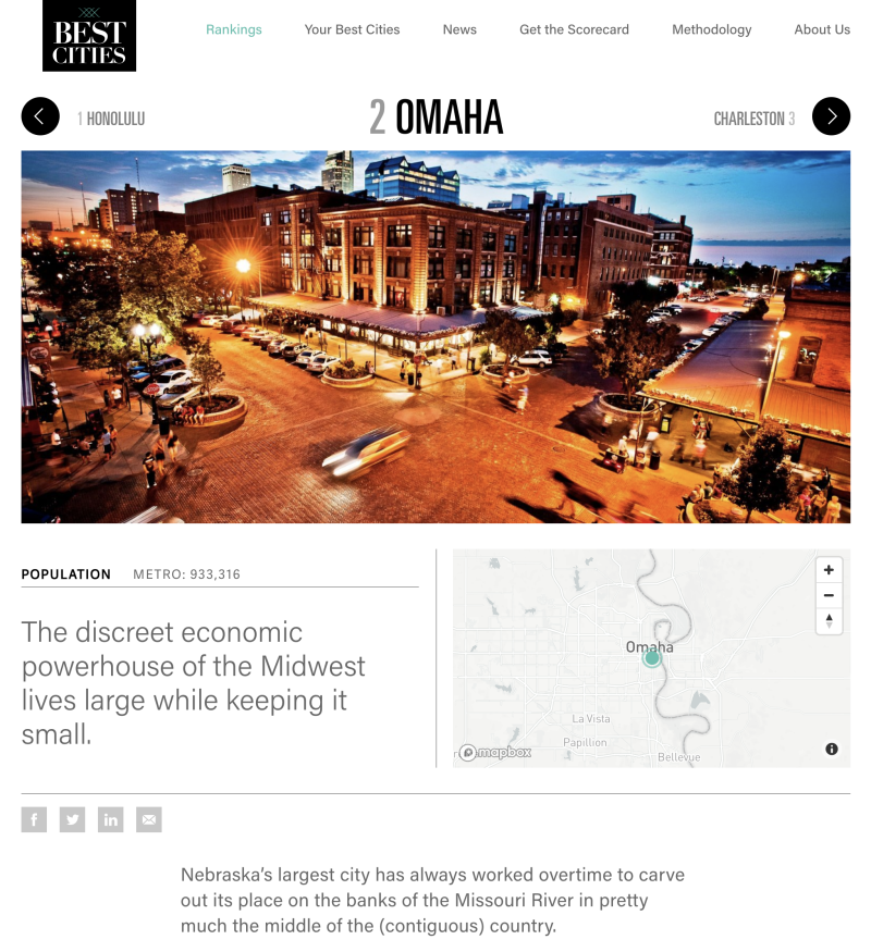 Omaha - #2 America's Best Small Cities 2019