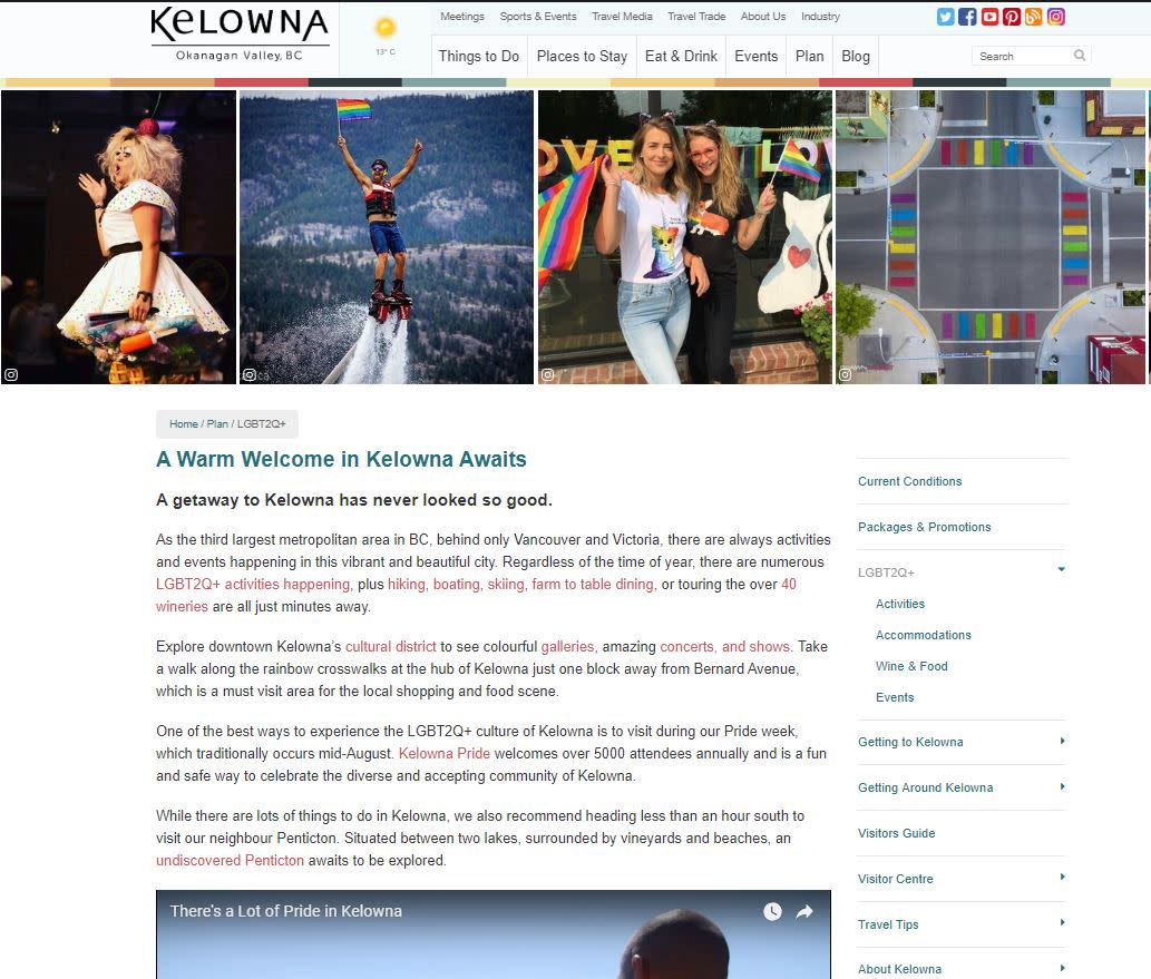 Photo of LGBT pages on Tourismkelowna.com