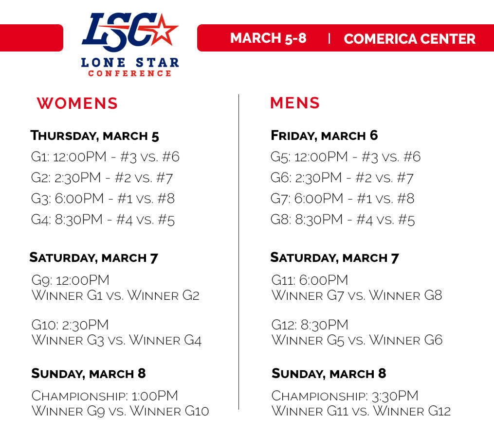 Lone Star Conference Championship Schedule - 2020