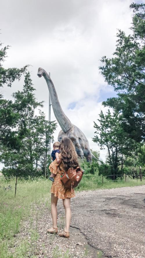 Dinosaur Park, woman and baby in front of dinosaur