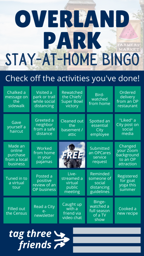 Bingo Card For Overland Park
