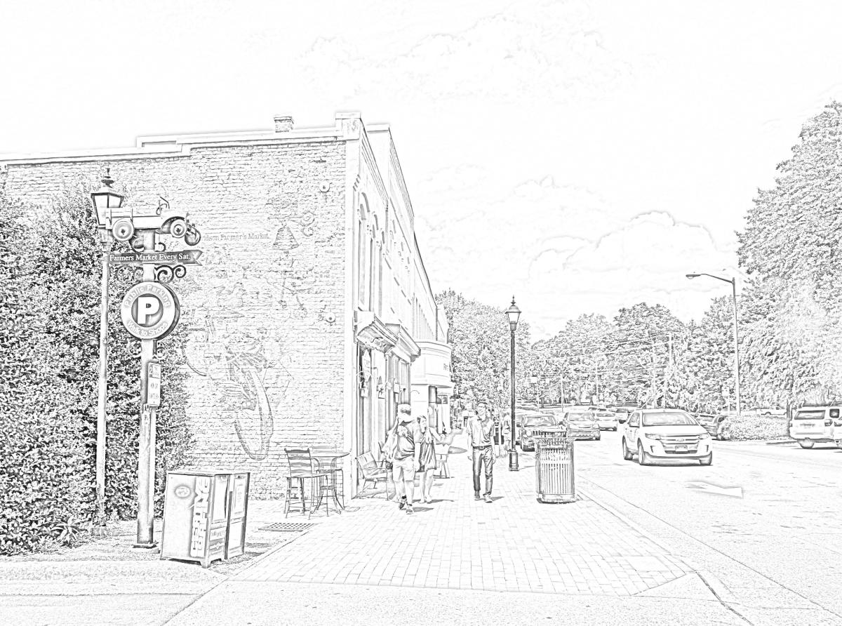 Downtown Davidson Coloring Page