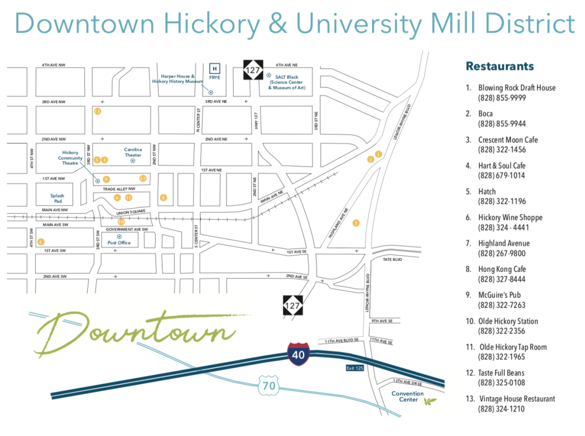 Downtown Hickory Map