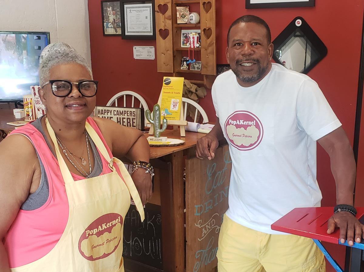 PopAKernel Gourmet Popcorn Owners Kim and Jerrod Cox
