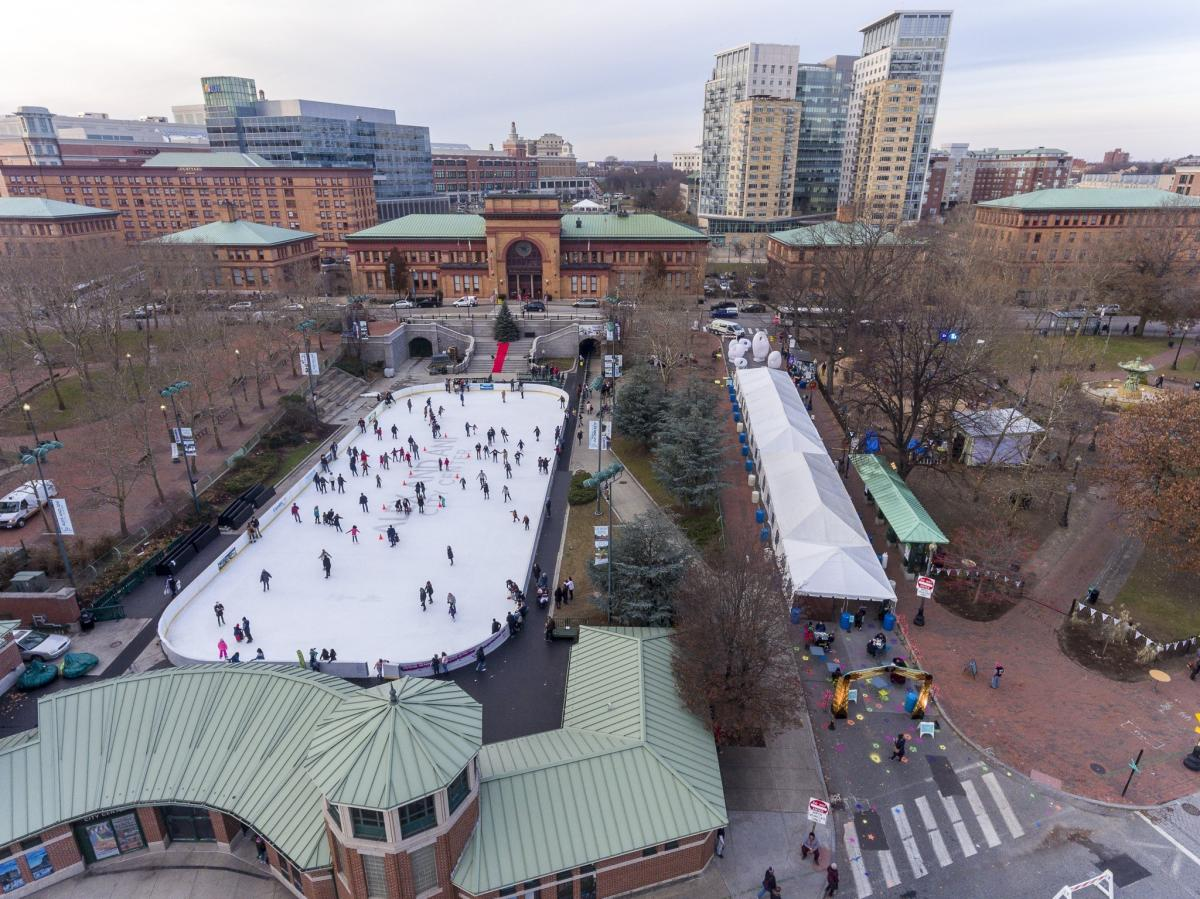 Aerial photo of the winter lights market including ice skating rink
