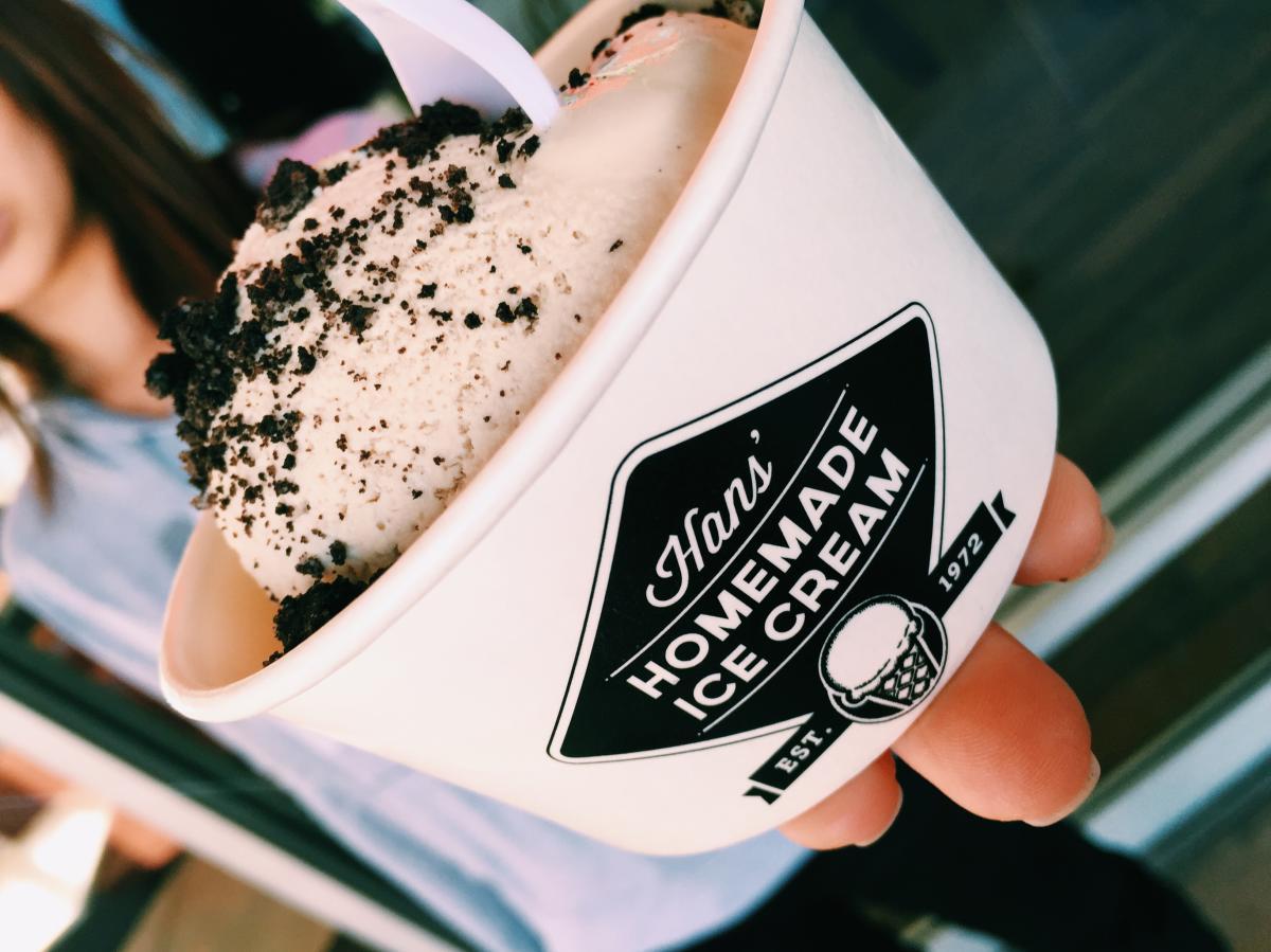 Ice cream cup at Han's Homemade Ice Cream in Huntington Beach