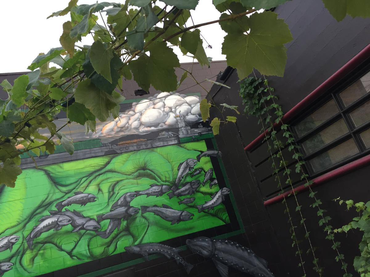 Mural on Cellar 55's outdoor patio with foliage