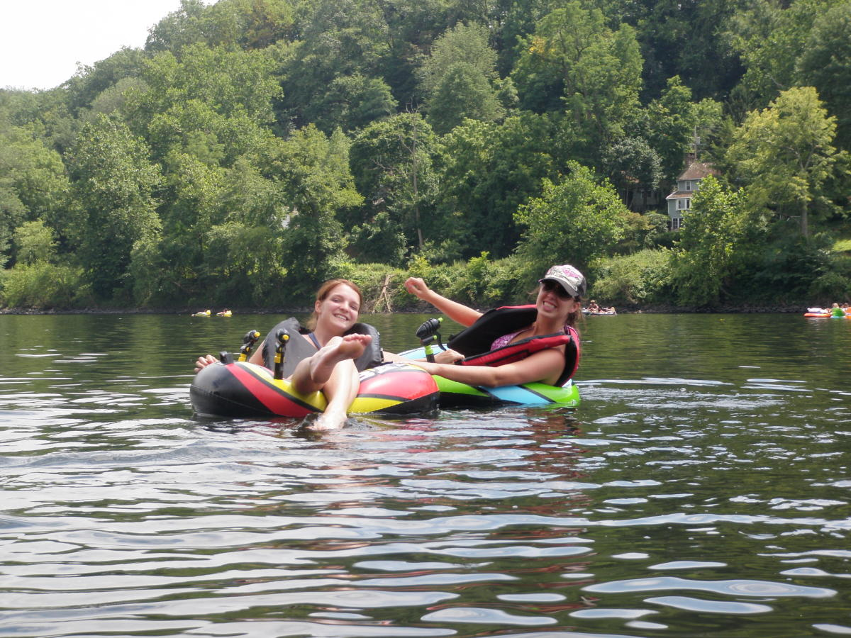 Friends tubing on the Delaware River
