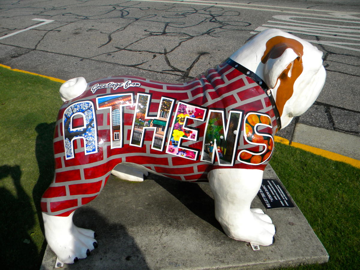 Greetings from Athens Bulldawg Statue