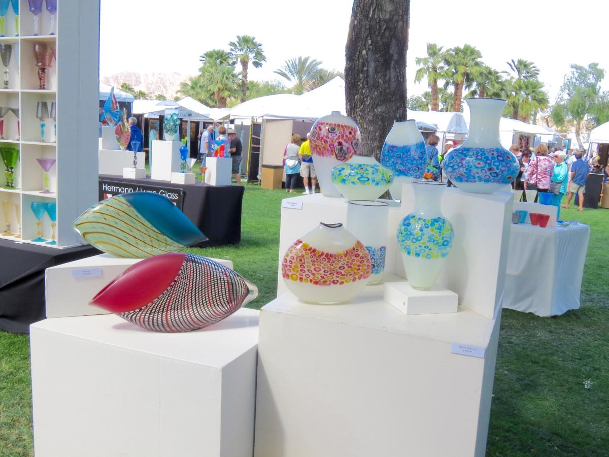 Colorful sculptures on display at the La Quinta Art Festival.