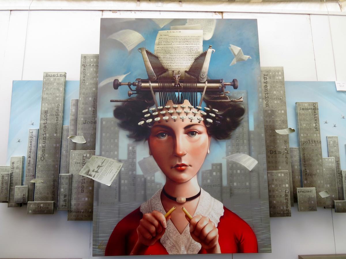 Mixed media artwork displayed at the La Quinta Art Festival.