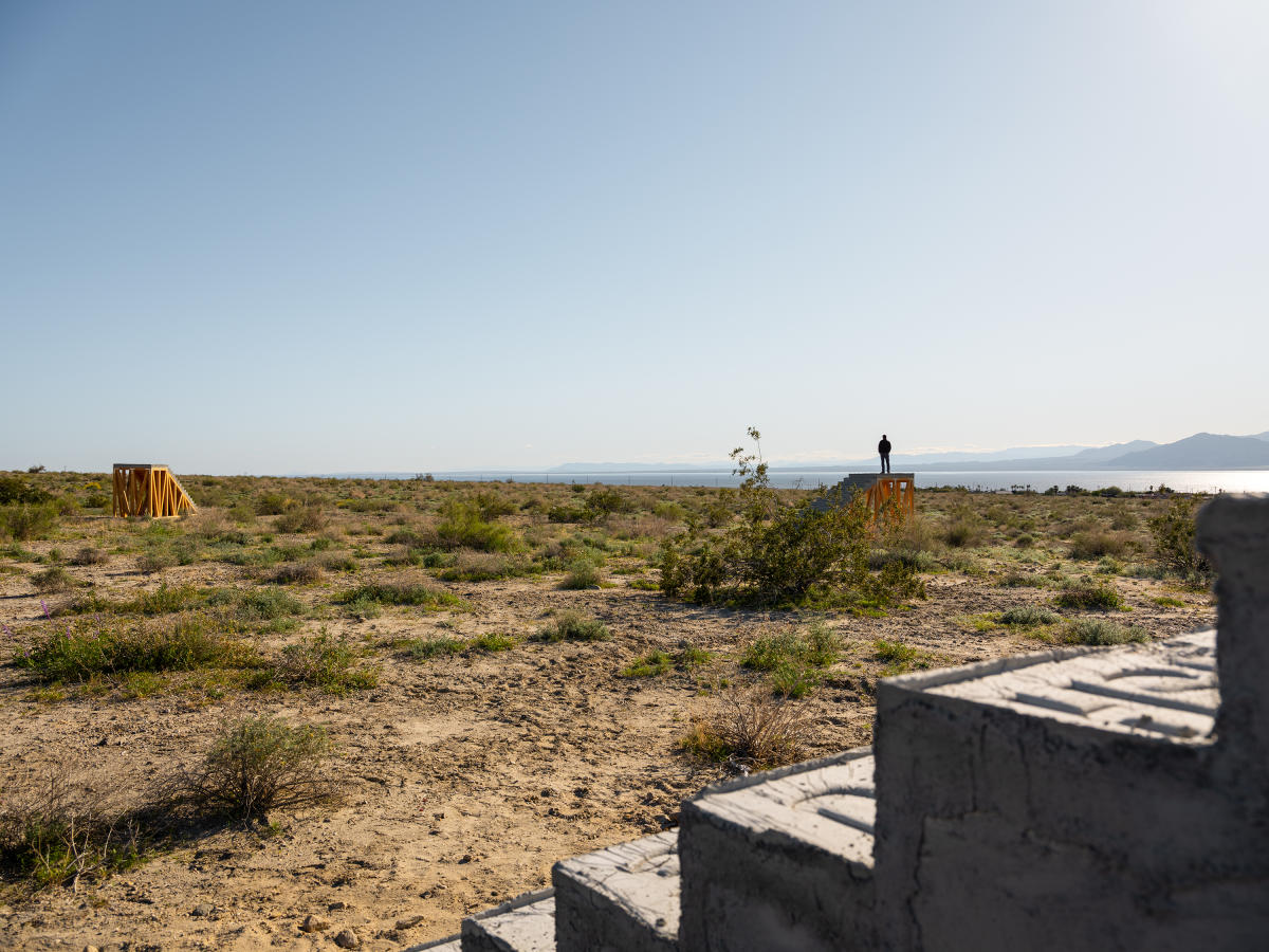 Several staircases in empty desert near the Salton Sea