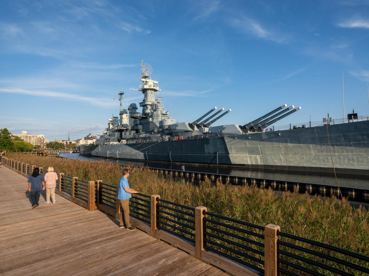 Battleship NC Memorial Walkway in Wilmington, North Carolina