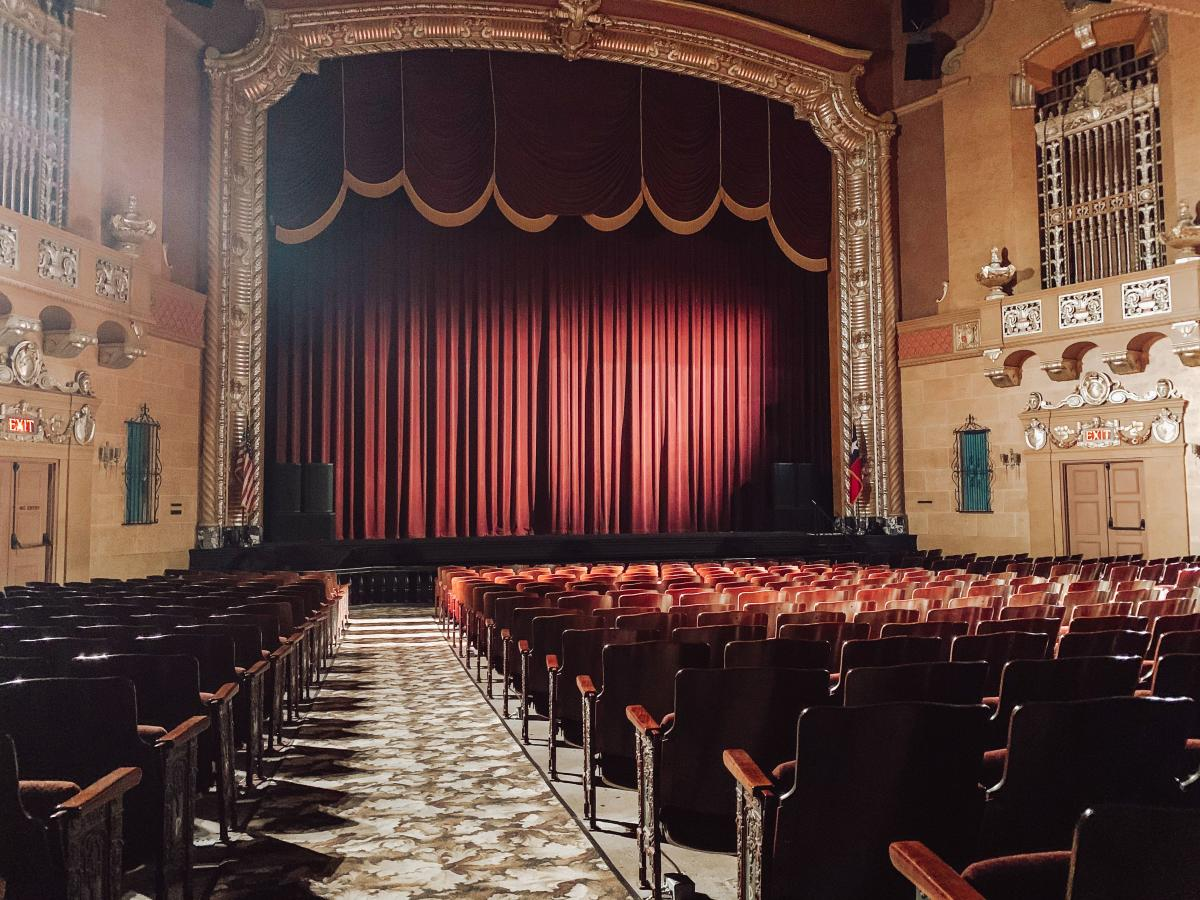Jefferson Theatre Main Stage With Red Curtains