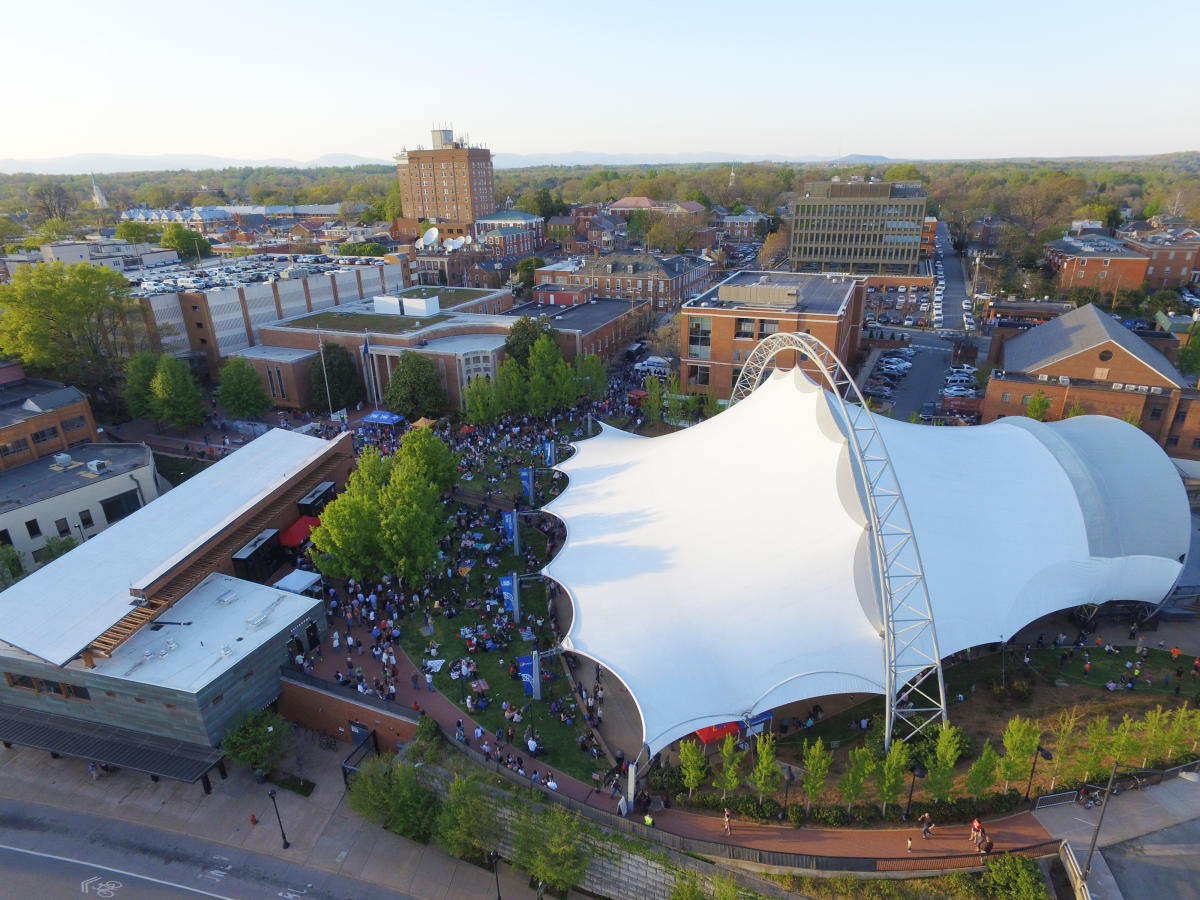 Aerial photo of Sprint Pavilion during a concert
