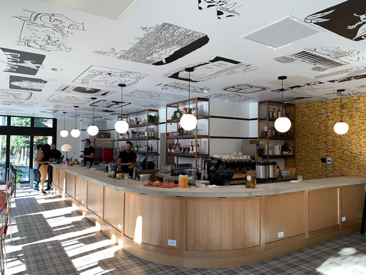 Interiors of Poindexter Coffee at Graduate Hotel