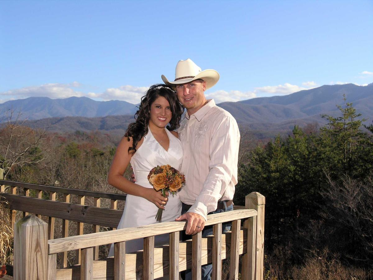 Couple Posing on Outdoor Deck