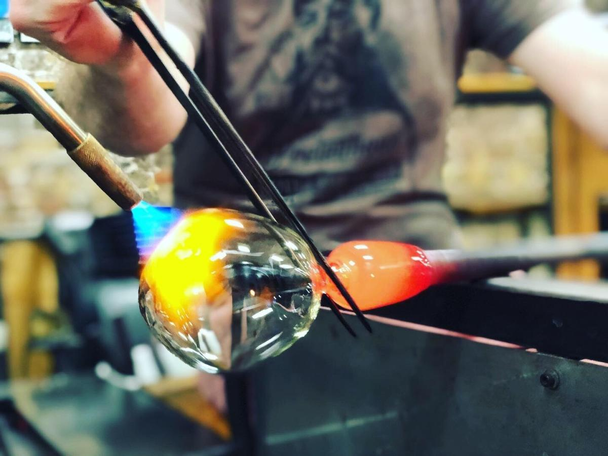 Glass blowing in action at Pretentious Glass Co.