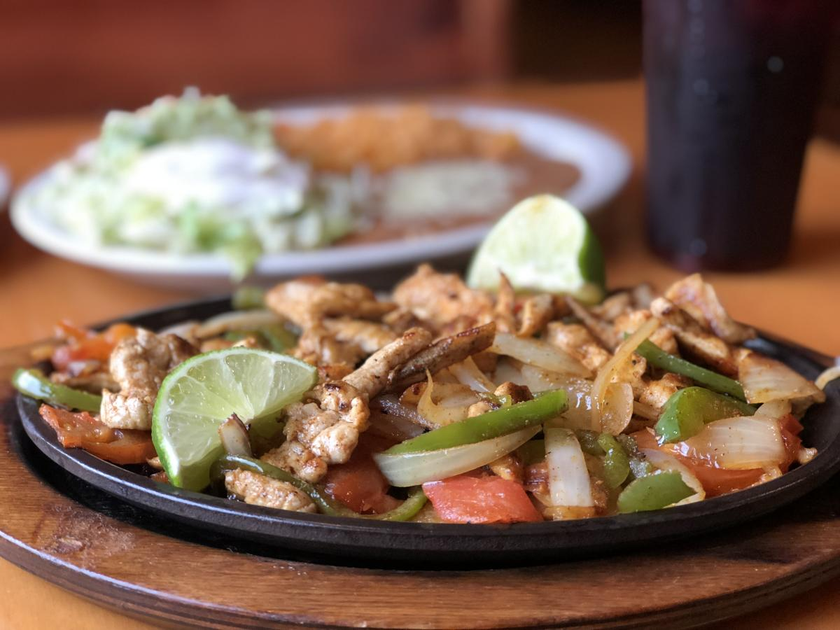 Chicken fajitas from a Mexican restaurant in Knoxville